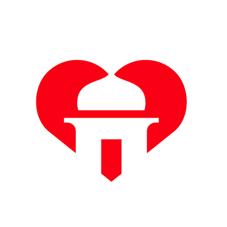 I Love Islam, Mosque Symbol Combined With Heart Shape, Vector Icon Design 일러스트