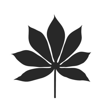 Black cassava leaf silhouette on white background