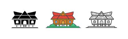 Kajang Leko Jambi, Indonesian Traditional House, Vector Illustration Set