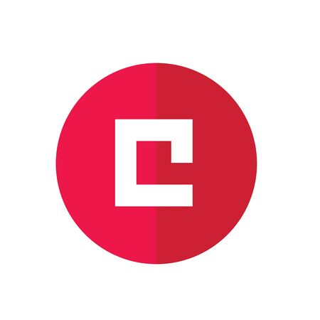 Abstract icon based on the letter C, red round web icon - vector