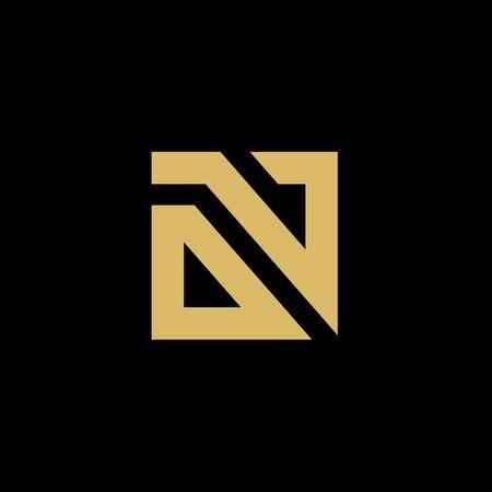 Beginletter AAN of GEEN logo, modern stijlicoon, goud op zwarte achtergrond Logo