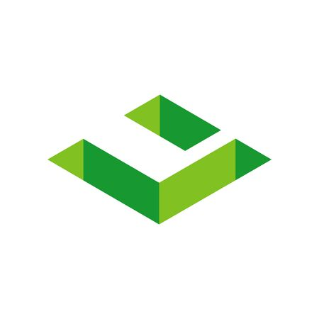 Green 3D Isometric Letter U, Abstract Letter U Logo Design - Vector