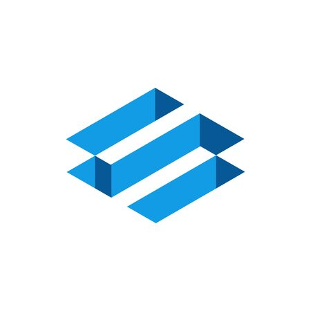 Blue 3D Isometric Letter S, Abstract Letter S Logo Design. Vector Illustration