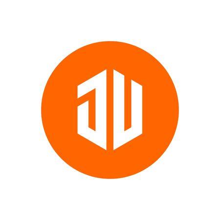 Circle Initial Letter JU Logo Icon, Orange Color Illustration Design - Vector 向量圖像