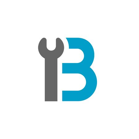 Letter B Wrench Logo Icon. Plumber, Repairman or Mechanic Concept. Blue and Grey Color Vector Illustration