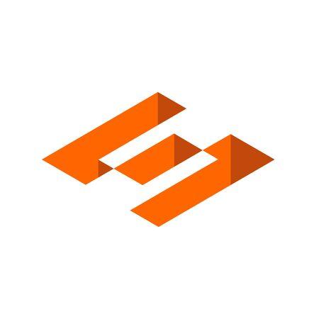 Initial Letter S Logo. Isometric Geometric Shape, 3D Icon Design. Orange Color Graphic Design Element - Vector