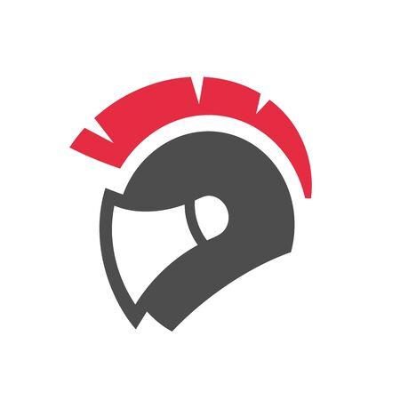Sparta or spartan motorcycle helmet logo in flat color. Gladiator warrior helmet. Vector icon design