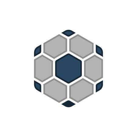 Hexagon Shape Soccer Ball Icon Design - Vector Ilustração