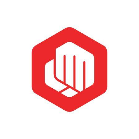Forward punch logo icon. Fist bump. Vector icon isolated - Vector Ilustração