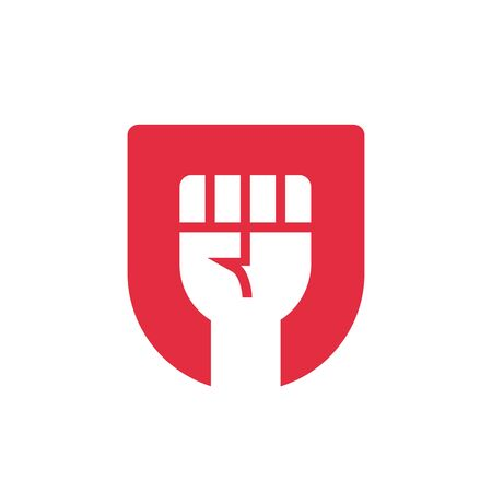 Freedom logo concept, red shied and fist, revolution icon design template - Vector