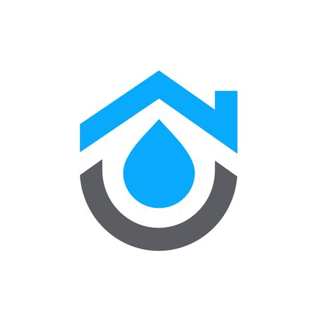 House combined with water symbol. Home plumbing logo design - Vector Foto de archivo - 129815080