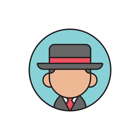 Spy or gangster avatar, cute cartoon man wearing fedora hat, flat  icon design - Vector Stock Illustratie