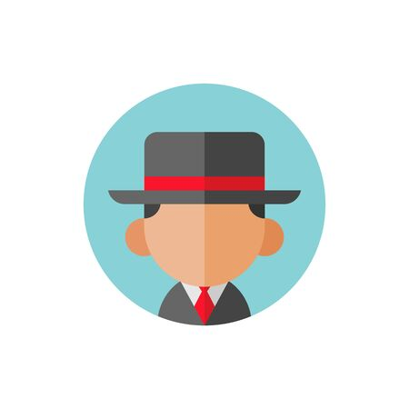 Avatar businessman or gangster wearing fedora hat, flat vector icon design