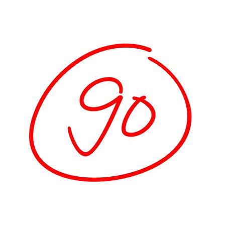 90 test score, ninety exam results, vector illustration design Stockfoto - 129815094