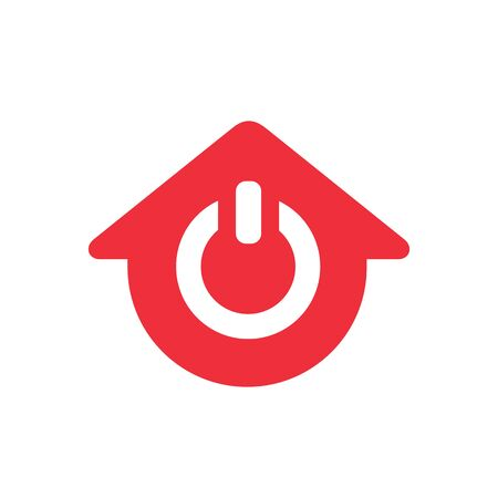 Power house logo design, home and power on icon - Vector  イラスト・ベクター素材