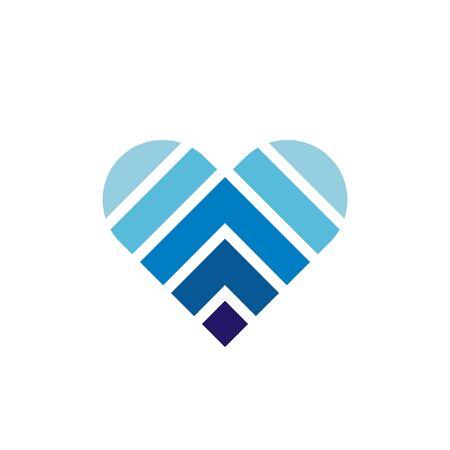Abstract blue heart logo icon, symbol of love - Vector