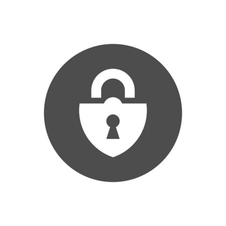 Black lock icon isolated on white background, security flat icon - Vector