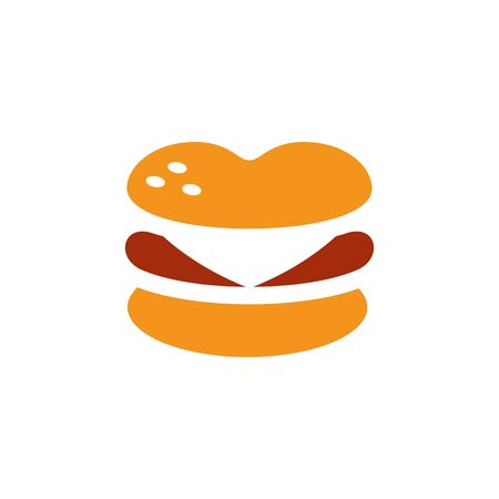 Love burger cafe logo design, fast food emblem, burger shop icon - Vector Standard-Bild - 129815156