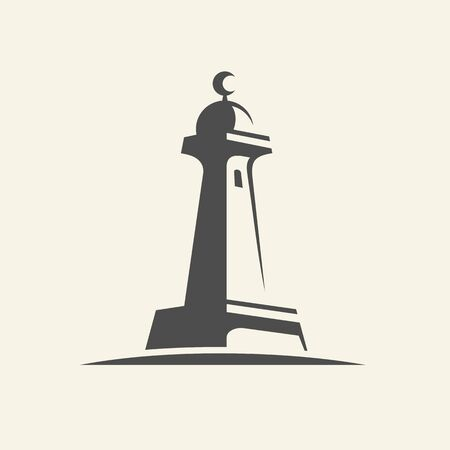 Minaret or adzan tower in a mosque, vector logo illustration design - Vector Illusztráció