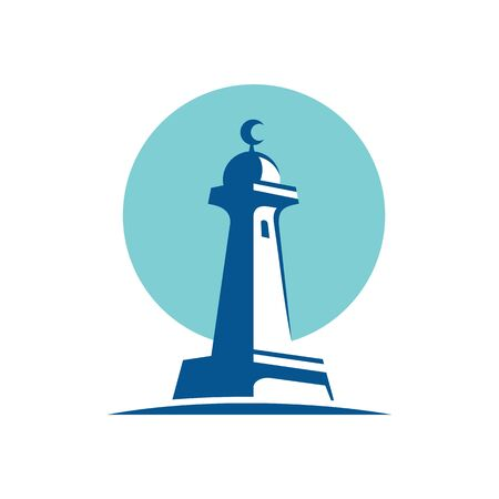 Adhan Tower of Islam, called a minaret, vector logo illustration design