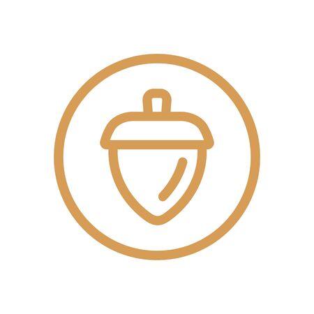 Line art acorn symbol, oak nut icon design - Vector