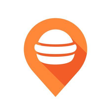 Pin map and fast food logotemplat, flat burger icon design - Vector