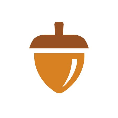 Flat oak nut logo design, acorn seeds icon design - Vector Иллюстрация