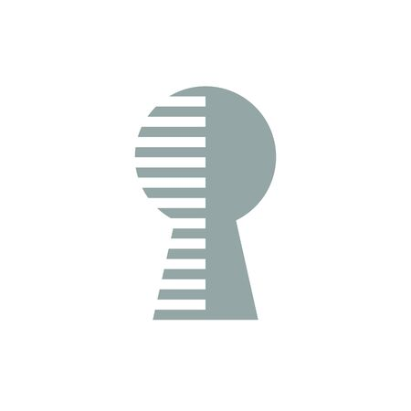 Digital security logo design, flat style keyhole symbol - Vector