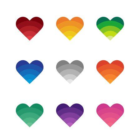 Heart icon set, symbol of love, valentine day design concept - Vector