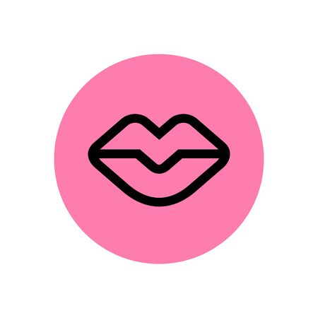 Modern vector lips logo template in linear style, female lip icon, woman mouth illustration Logo