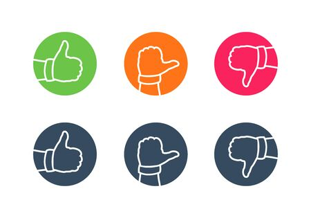Hand thumbs up, thumbs side and thumbs down icon. Vector icon set