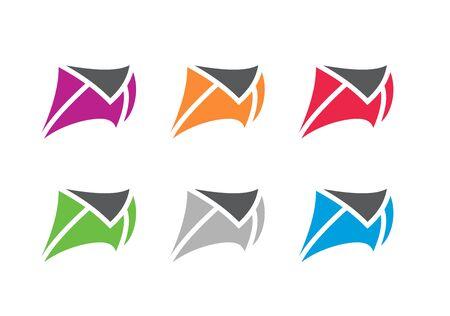 Fast mail logo template, running envelope symbol - Vector