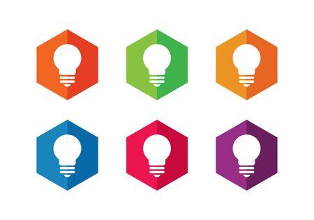 Hexagonal lamp icon, hexagon and lightbulb icon set - Vector Ilustração