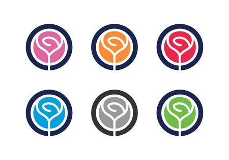 Rose logo set, collection of circle shape flower icon - Vector