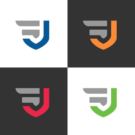 FJ or JF letter logo template, vector illustration design