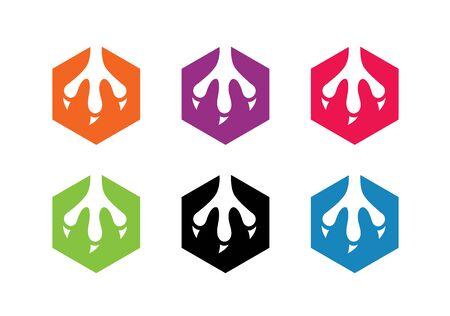 Animal claw logo template, hexagon shape icon set, beast claw symbol - Vector Ilustração