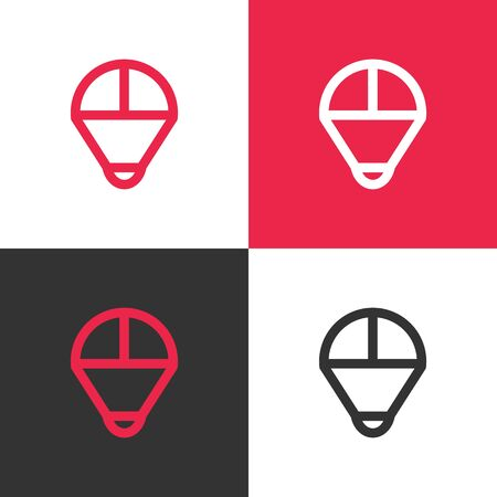 Simple parachute logo template, paragliding vector icon illustration design