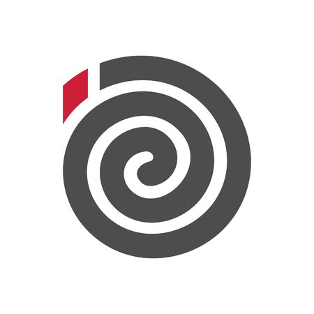 Spiral mosquito coil logo icon, black and red color mosquito repellent symbol