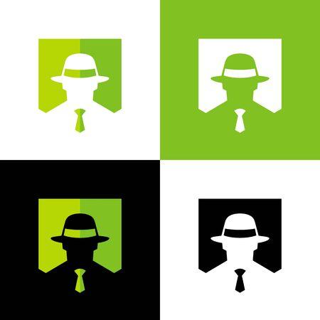 Gentleman with fedora hat, gangster or mafioso logo template, spy icon design