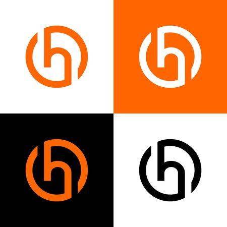 Elementi del modello di progettazione del logo della lettera h del cerchio, illustrazione vettoriale