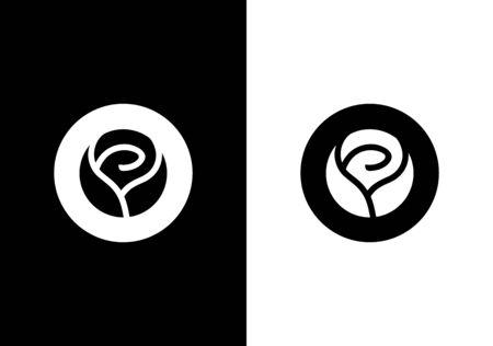 Circle rose flower, Initial letter O, vector logo design template elements Logo