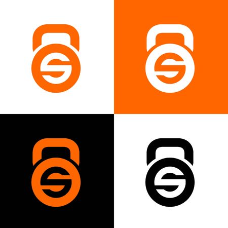 Initial letter S and kettlebell, sport logo design template elements, gym club concept