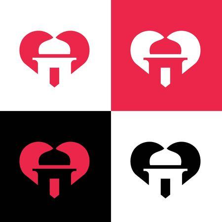 I love islam, Mosque and heart shape symbol, vector logo illustration design