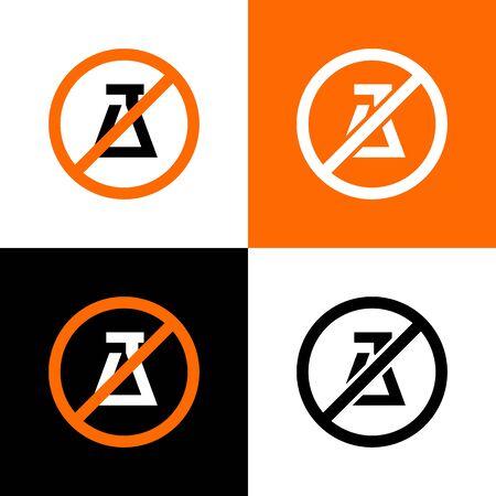 No experiment sign, science forbidden icon - Vector