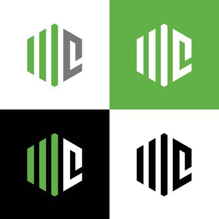Elementi del modello di progettazione del logo della lettera iniziale MC o WC, illustrazione della forma esagonale