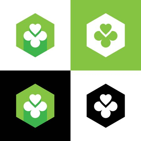 Heart and clover leaf logo design, green shamrock icon - Vector Illustration