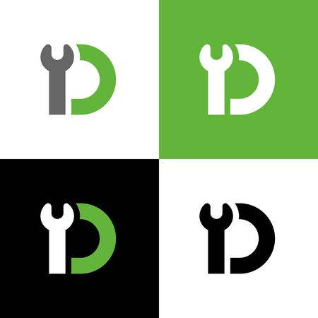 Letter D with wrench tool, repair and maintenance service logo template, vector illustration design Ilustração