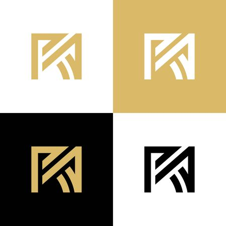 Initial letter RA R A uppercase luxury logo design template elements, gold color illustration - Vector Logo