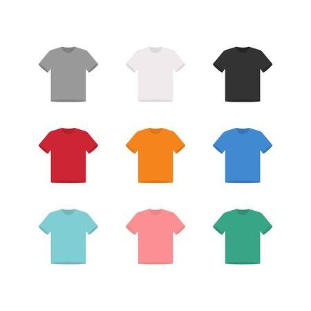 Ensemble de maquette de t-shirt plat, illustration de conception de chemise, vue de face - vecteur