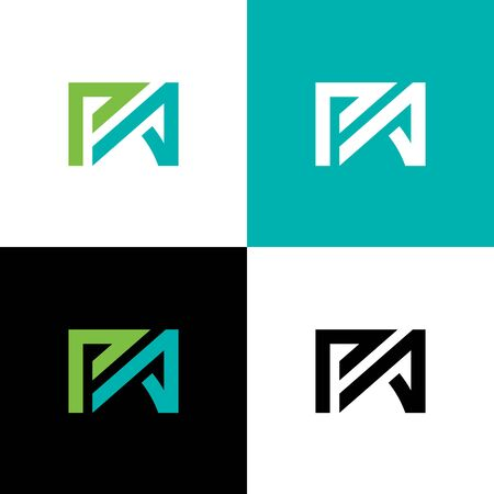 PA typography logo design with blue green colors, Initial PA letter logo template - Vector